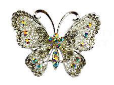 Large Vintage Alloy & Rhinestone Diamante Butterfly Brooch Broach Pin Wedding