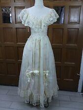 Sz S Vtg GUNNE SAX Jessica McClintock Prairie Maxi Dress Layered Skirt Bows