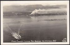 1956 Real Photo RPPC Postcard Ferry Chinook Leaving PORT ANGELES for VICTORIA BC