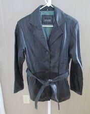 ADLER COLLECTION Black New Zealand Leather Belted Jacket sz Medium NWOT
