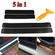5x 3D Carbon Fiber Vinyl Stickers Car Door Sill Pedal Step Scratch Protect Decal