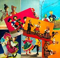 1967-68 Postcards Russian Vintage Dolls National Costumes Photo cards Lot 8pcs