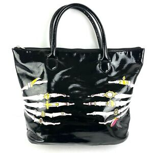 Iron Fist Handbag Faux Leather Black Skeleton Skull Hands Goth Tote Bag