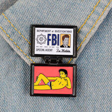 Id Card Brooches Enamel Button Jewelry The Simpsons Pin X-Files Fbi Fox Mulder