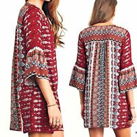 Umgee Dress Size XL S M L Shift Tunic Bell Sleeve Free Boho People Womens New