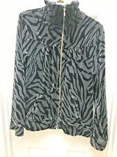 Style & Co Womens Jacket Velour Full Zip Black Gray Animal Print L