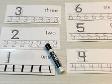 Numbers 1-20 Directional lines -laminated dry erase cards.  Preschool Tracing.