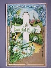 R&L Postcard: Beautiful, Easter Holy Cross Snowdrop Flowers, Embossed Design