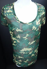Medium Romeo & Juliet Couture Camo Semi Sheer Blouse Pullover Blouse Womens M