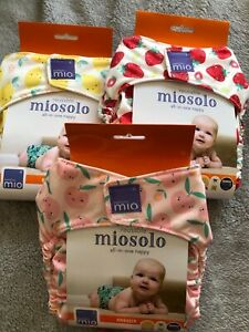 3 X MIOSOLO Reusable All In one Nappies one Size NEW