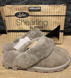 NEW!! Kirkland Women's Stone Shearling Slippers Size 6