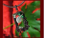 Women's Ethnic Handmade Turquoise Red Agate Garnet Wood Vintage Copper Choker Ne
