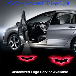 2pcs Red Batman Logo Car Door Laser Projector CREE LED Lights Wired Universal