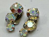 Vintage Earrings Silver Tone Clip On Signed Austria w Aurora Borealis Rhinestone