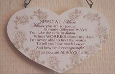 Mum Plaque Wooden Heart Shaped Sign Special Mum Mothers Day 16cm F1214A