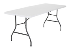 Cosco 6 Foot Centerfold Folding Table, White - 100lb Weight Capacity, Easy Clean