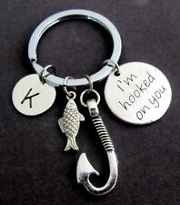 I''m Hooked On You Keychain With Fish Hook And Cute Fish Charm,Fish Key Chain