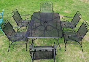 Vintage Salterini  Wrought Iron Patio Dining Set, 7 Piece, MCM, Read Below