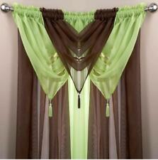 1 VOILE SWAG SWAGS TASSLE DECORATIVE NET CURTAIN DRAPE PELMET VALANCE 25 Colours