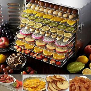 US Commercial Food Dehydrator 10 Tray Stainless Steel 55L Fruit Meat Jerky Dryer