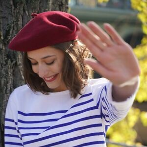 French Berets 100% Wool in Burgundy Colour - Made in France by Le Beret Francais