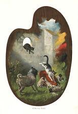 Mops-Familie und Katzen, Original-Farbholzstich von ca. 1890