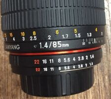 Samyang 85mm f/1.4 AS IF UMC Lens for Nikon - Mint Condition