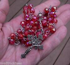 Plastic aurora red rosary catholic handmade Jesus prayer beads filigree Tibet