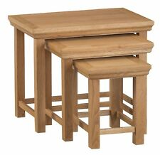ABBEY MODERN OAK NEST OF 3 TABLES / END UNITS / DRINKS STANDS