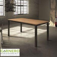 Tavolo vintage allungabile HENRY 140cm metallo anticato/rovere, legno, robusto
