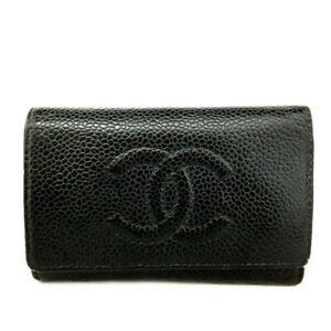 CHANEL CC Logo Black Caviar Skin 6 Key Case/D1624