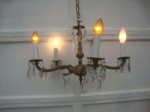 Vintage brass 5 arm chandelier 29 crystal tear drop prisms ceiling light fixture