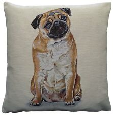 Pug Dog Woven Tapestry Cushion Cover
