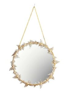 Golden Hanging Luxury Butterfly Large Makeup Mirror Round Art Decor Living Room