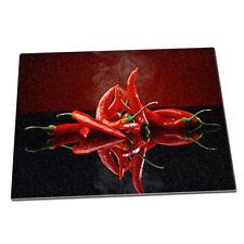 Red hot chillis smoking cool Glass Chopping Board 076