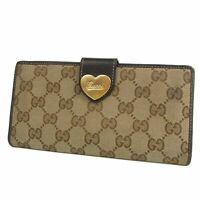 Auth GUCCI GG Logos Heart Canvas Leather Bifold Long Wallet Purse 18916bkac