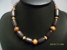 Two Tone Brown Wooden Necklace Vintage 1980s Cylinder Round Flat Beads Ethnic