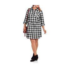 Concepts Women's Belted Plaid Shirt Dress, Black/White, 4X
