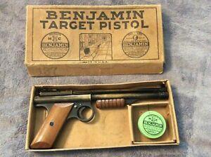 VINTAGE BENJAMIN FRANKLIN PELLET TARGET PISTOL 137 - USA - WITH BOX AND PELLETS