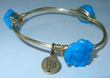 BOURBON and BOWETIES Venus Blue Flower Bangle Bracelet Gold Tone NEW