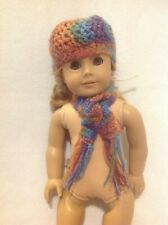 "Fit 18"" American Girl crocheted hat beanie/scarf mustard yellow doll outfit"