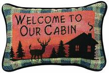 Throw Pillow Welcome Cabin Deer Rustic Lodge Wildlife Gift Home Decor Nature New