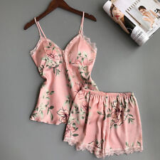 UK Women Satin Lace Sleepwear Babydoll Lingerie Nightwear Shorts Pjs Pyjamas Set