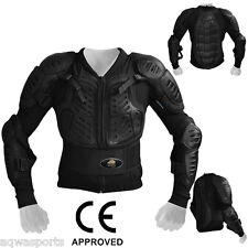 AQWA Motocross Motorcycle Body Armour Protection Motorbike Guard Jacket Black, M