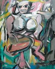 After Willem de Kooning's Woman I Oil Painting Abstract Expressionism