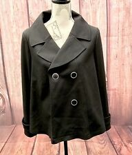 Womans black Coat Jo Thirty size 10 button up shoulder pads jacket soft material