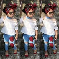 Toddler Kids Baby Girls Lace Tops Flower Denim Pants Jeans Outfits Set Clothes