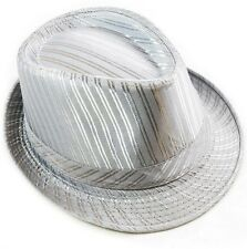 Cotton Fedora Hat Cap trilby Mens Gray Stripe Womens Unisex fashion style NEW