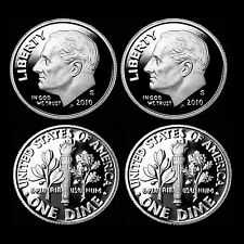 2010 S Roosevelt Dime ~ Mint Silver and Clad Proofs ~ Deep Cameo ~ Set of Two
