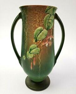 """1938 Roseville Pottery 903-12 Fuchsia Vase in Green 12 1/4"""" Impressed Mark RARE"""